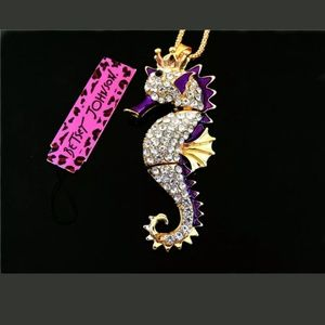 New Betesy Johnson purple seahorse necklace